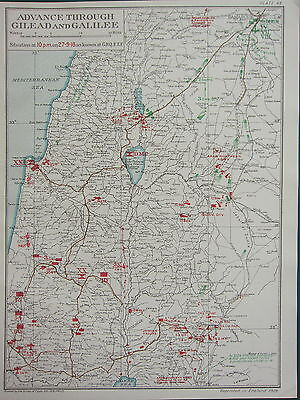 1919 Ww1 Map Egyptian Expeditionary Force Advance Gilead & Galilee 27 Sept 1918