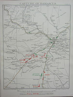 1919 WW1 MAP EGYPTIAN EXPEDITIONARY FORCE CAPTURE OF DAMASCUS 12am 30 SEPT 1918