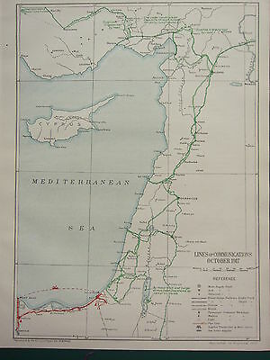 1919 Ww1 Map Egyptian Expeditionary Force ~ Lines Of Communications Oct 1917