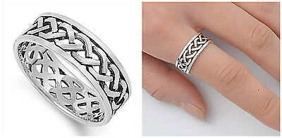Sterling Silver 925 CELTIC DESIGN SILVER BAND RING 8MM SIZES 4-13