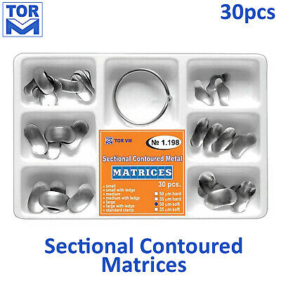 Sectional Contoured Dental Metal Matrix Kit - 30 pcs