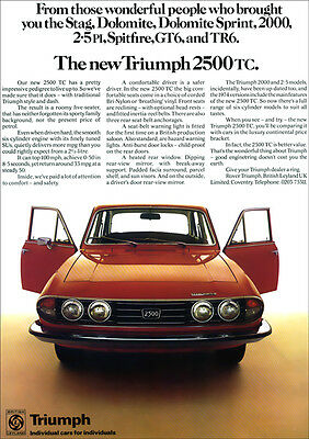 Triumph 2500 Tc Saloon Retro A3 Poster Print From 70's Advert
