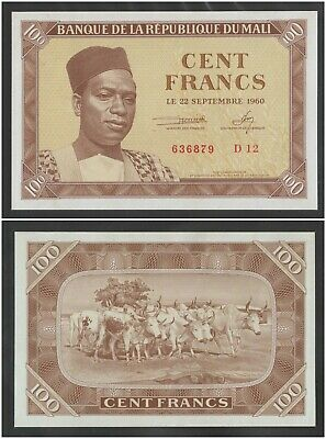 MALI  100 Francs 1960  UNC  P2  Banknote in perfect UNCIRCULATED condition  RARE