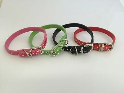 PU Leather Cat / Small Dog Pet Collar Rhinestone Crystal Diamante Buckle.  P-Dot