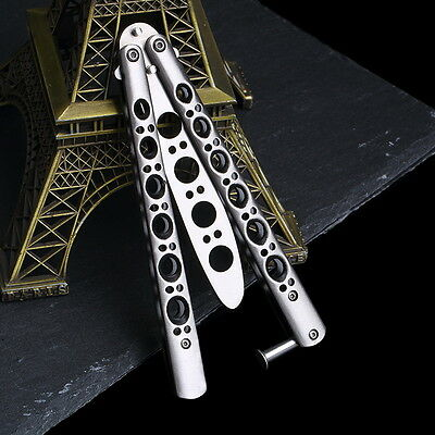 Folding Butterfly Knife Training Balisong Dull Blade Practice Trainer Tool IT