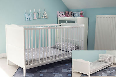 BABY COT BED 120X60cm & COTBED FOAM OR SPRUNG MATTRESS 2 COLOURS-CONVERTABLE