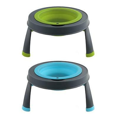 DEXAS Collapsible SINGLE ELEVATED FEEDER Silicon Feeding Station Food Water Bowl