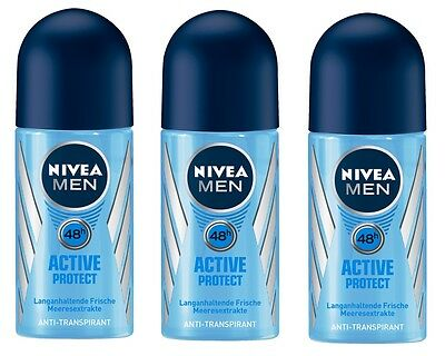 (74,33€/L) 3x 50ml Nivea Men Active Protect 48h Roll On Anti Transpirant Deo