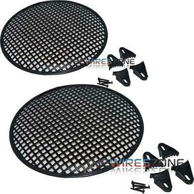"12"" Steel Speaker Subwoofer Sub Waffle Mesh Grill Cover w/ Clips & Screws (pair)"