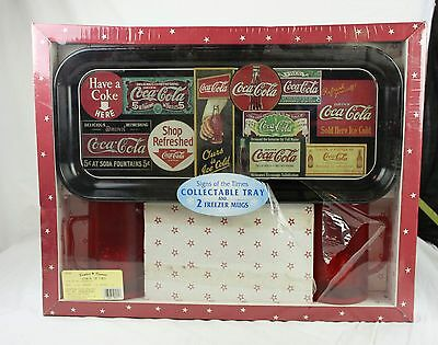 Sign of the Times Coca Cola Collectible Tray 2 Freezer Mugs New in Damaged Box