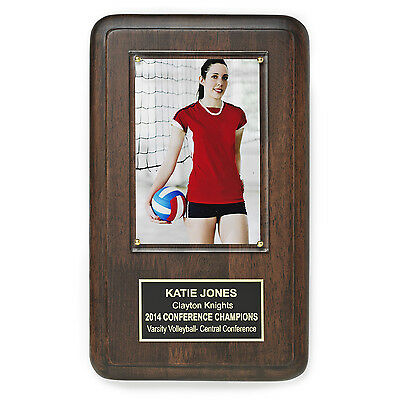 "Personalized Hardwood Award Plaque with Free Engraving and 4""x6"" Photo Holder"