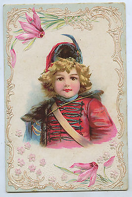 C.1904 EMBOSSED CHROMO-LITHOGRAPHED GREETING CARD LITTLE DRUMMER BOY  y78