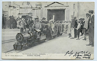 1906 PT UB POSTCARD MINIATURE RAILROAD DREAMLAND CONEY ISLAND NEW YORK USA y82