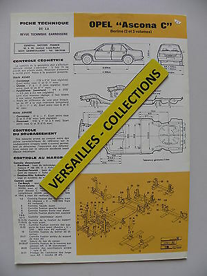 Fiche technique automobile carrosserie OPEL ASCONA C berline 2 et 3 volumes