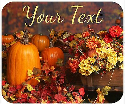 Mouse Pad Custom Thick Mousepad-Thanksgiving-Pumpkins And Flowers-Any Text