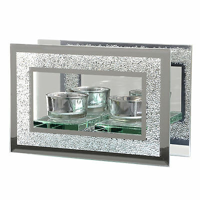 Mirrored Glass Twin Tealight Candle Holder Diamante Frame Design - A Great Gift!