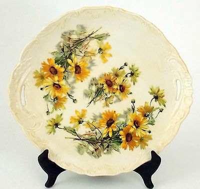 """Antique Porcelain Platter Serving Dish With Hand Painted Daisy Pattern 12"""" X 11"""""""