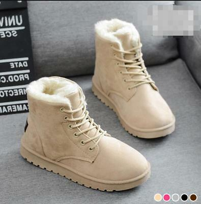 Womens Girls Winter Snow Warm Fur Lined Lace Up Flat Round Toe Ankle Boots Shoes