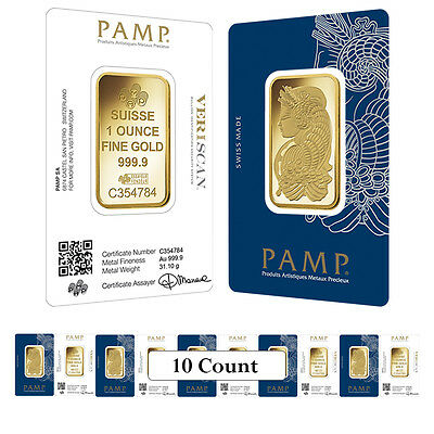 Lot of 10 - 1 oz Gold Bar PAMP Suisse Lady Fortuna Veriscan .9999 Fine (In Assay