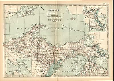 1903 Map ~ Michigan ~ Inset St Marys River Lake Superior Huron Straits Mackinac