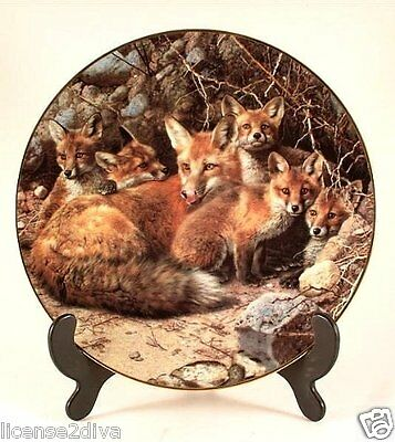 Bradford Exchange Fox 'it's A Family Affair' Collector's Plate! Numbered!