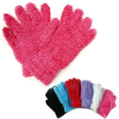 1~4 Dozen WHOLESALE LOT FUZZY FURRY MAGIC WINTER SOLID GLOVES WARM KNITTED Xmas