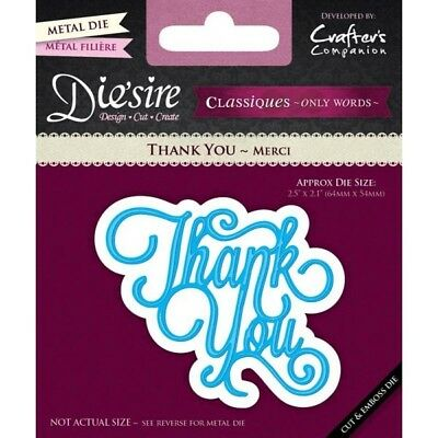 Crafters Companion Die'sire Classiques Only Words Thank You Die DS-C-THANK