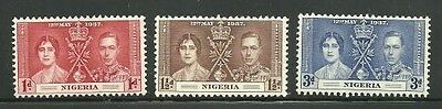 Album Treasures  Nigeria Scott # 50-52   George VI  Coronation Mint Hinged