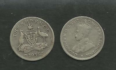AUSTRALIA 1936 KING GEORGE V SILVER THREEPENCE 3d COIN