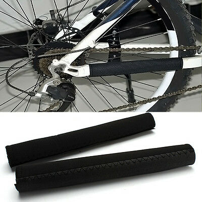 2 Pcs Black Bike Bicycle Cycling Frame Chain Stay Protector Cover Guard Neoprene