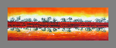 60cm x 20cm  Aboriginal Art Painting print Canvas murray river landscape sunset