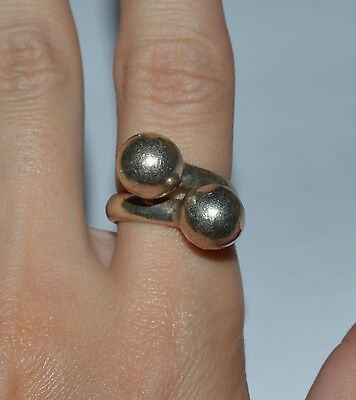 Mexico Sterling Silver Balls Ring Size 7