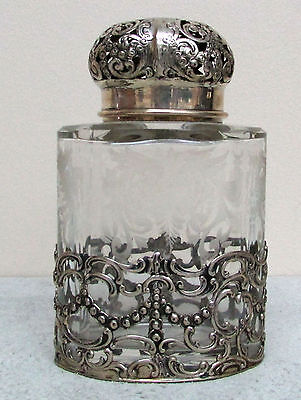 Antique German Silver And Engraved Crystal Fabulous Cologne Bottle