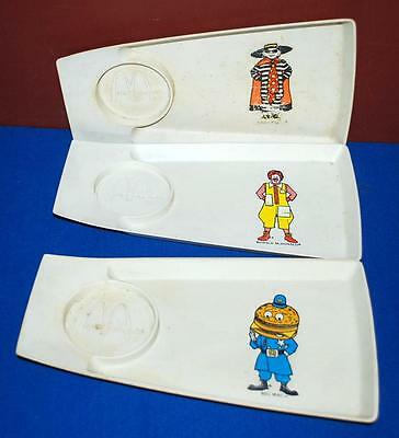 Vintage Lot Of 3 70's Mcdonald's Plastic Happy Meal Serving Trays Plates ~104~