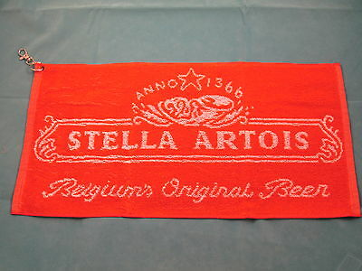 New Stella Artois golf towel - 49 x 24 cms - clips to golf bag