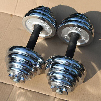 EFL Adjustable Pair Total 22-110 Lbs Cast Iron Gym Strength Weight Dumbbells Set
