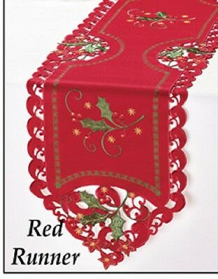 Festive EMBROIDERED Holly & Berries RED CHRISTMAS TABLE RUNNER, NEW!