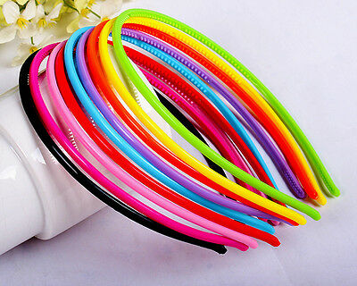 5pcs 4mm Plastic Candy Colors Headband Skinny Thin Hair Band Hairpin