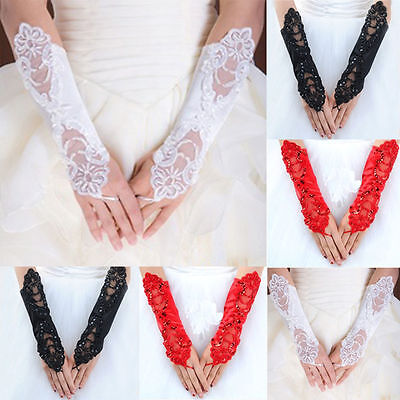 Sexy Flower Bridal Party Fingerless Pearl Lace Short Evening Prom Wedding Gloves