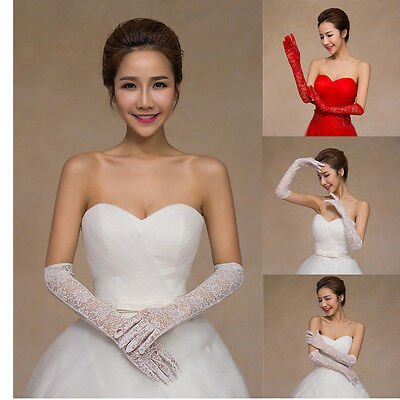 Bridal Lace Ivory Red Long Gloves Elbow Opera Evening Wedding Party Prom Costume
