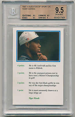 1999 Question of Sport TIGER WOODS ROOKIE BGS 9.5 Gem Mint  RARE [BBE]
