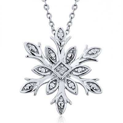 925 Sterling Silver Diamond Accent Snowflake Pendant With 18 Inch Silver Chain