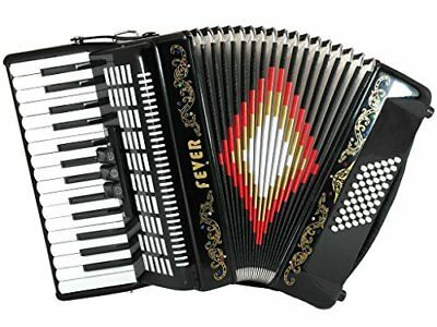 Fever Piano Accordion 3 Switches 30 Keys 48 Bass, Black, F3048-BK