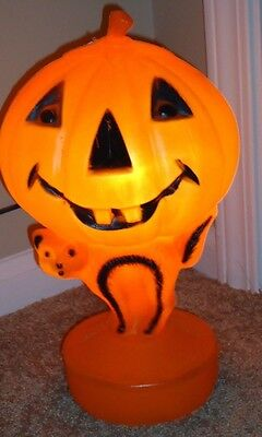 "Halloween Blow Mold PUMPKIN & CAT Vintage Light Up 13.5"" decoration"