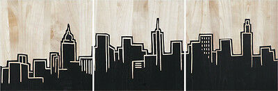 URBAN SKYLINE Mangowood Mango Wood SET 3 Art Artwork Carved Modern Black Etched