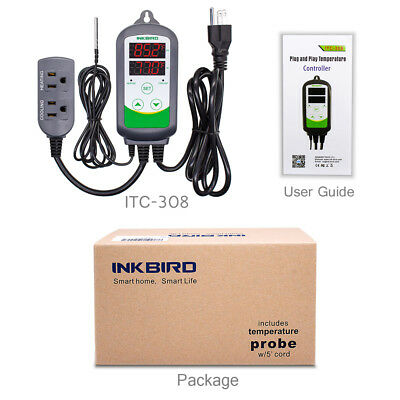 110V Pre-wired Brewing Digital Temperature Controller Thermostats 1100W ITC-308