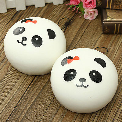 Big 10cm Kawaii Panda Squishy Charms Bread Cell Phone Bag Key Strap Pendant