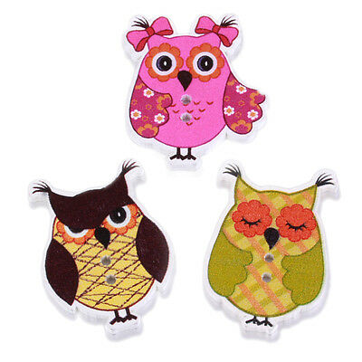 50pcs Mixed Styles Animal Owl Pattern Wood Buttons Sewing Scrapbooking Crafts BS