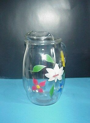 Vintage Gay Fad Bartlett & Collins Glass Pitcher Hand Painted Flowers