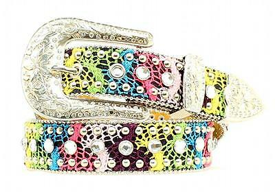 Nocona Western Girls Kids Belt Leather Rhinestones Lace Multicolor N4410897
